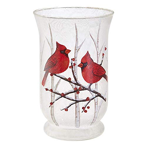 RAZ Imports Candle Holder w/Cardinals on Winter Berry Branches — 5