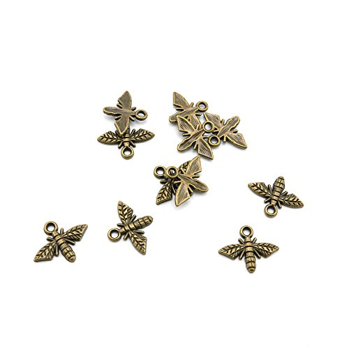60 Pieces Jewelry Making Charms NHYK0 Bee Findings Antique Brass Retro DIY Vintage Supply Supplies Craft