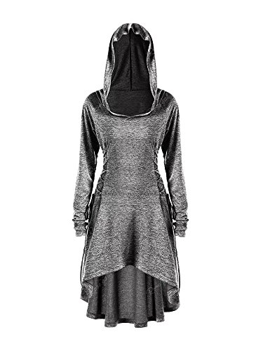 Gemijack Womens Halloween Costumes Medieval Renaissance Costume Long Sleeve Cosplay Hoodie Dress Cloak -
