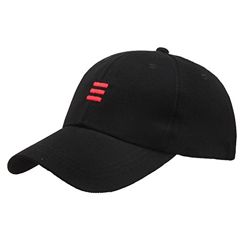 Lmtime Vintage Baseball Caps Embroidered Stripe Peaked Hats, Hip-Hop Curved Snapback Outdoor Cap (Black)