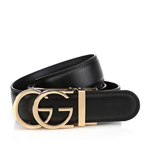 Men's Slide belt G-Style Gold removable Automatic Buckle Leather casual Business Ratchet Belt Dress For Men(adjustable from 22