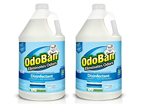 (OdoBan 1 Gal Concentrate 2-Pack, Fresh Linen Scent - Odor Eliminator, Disinfectant, Flood Fire Water Restoration)