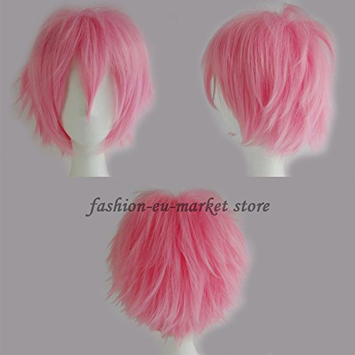 Synthetic Short Straight Fluffy Full Wig Oblique Fringe Curly Hair Tail for Anime Cosplay Costume Party for Men / Women (pink)… - Fai Tsubasa Cosplay Costume