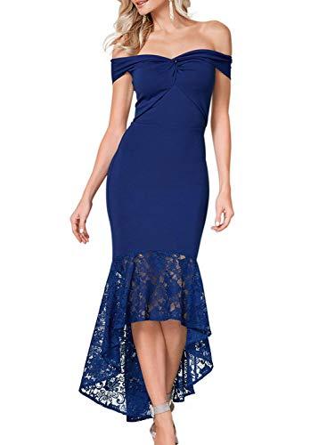 Arainlo Cocktail Dresses for Plus Size Women Vintage Formal Biue Twist Center Off Shoulder Bodycon Weddingd Prom Lace Mermaid Long Dress L