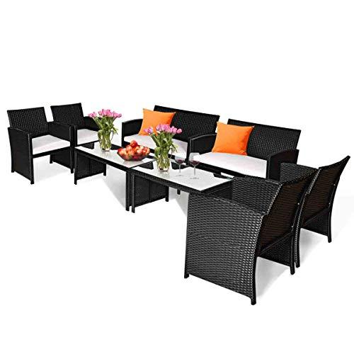Tangkula 8-PCS Wicker Patio Conversation Set,Outdoor Rattan Sofas with Table Set, Patio Furnitu ...