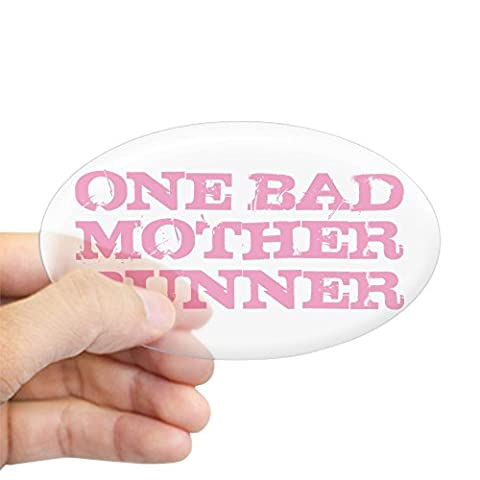 CafePress - One Bad Mother Runner Pink Sticker (Oval) - Oval Bumper Sticker, Euro Oval Car Decal (Bad Runner)