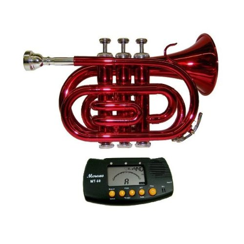 MERANO RED LACQUER POCKET TRUMPET WITH CASE + FREE METRO TUNER