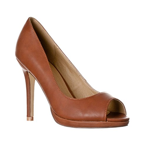 Riverberry Women's Julia Slight Platform Open Toe High Heel Pumps, Brown PU, 8.5 (Platform Toe Heel Open Pumps)