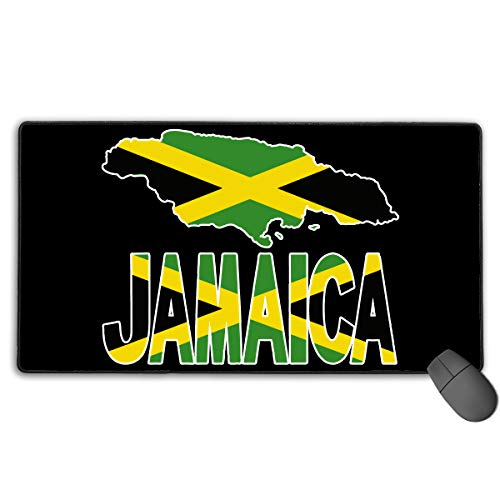 LNUO-2 Large Gaming Mouse Pad/Mat, Jamaica Flag with Jamaican Map Custom Mouse Pads with Non-Slip Rubber Base for Typist Office, Durable Stitched Edges -
