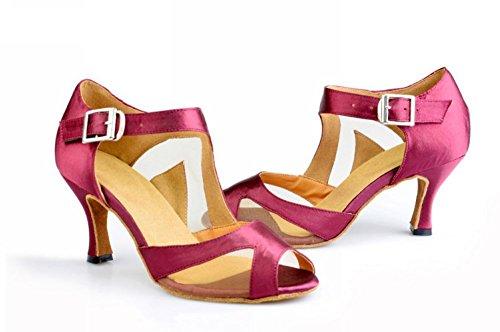 Tda Womens Peep Toe Satin Sandali Moderni Latino Samba Rumba Party Dance Rossi