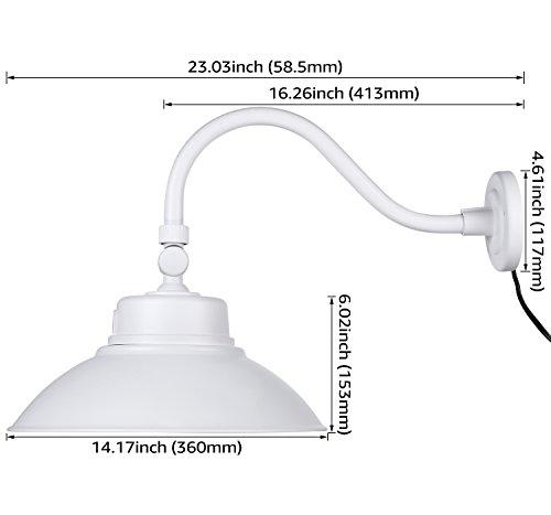 LEONLITE LED Gooseneck Barn Light, Photocell Included, Swivel Head Outdoor Wall Light, 42W (150W Equivalent), 5000K Daylight, 4000 Lumens, ETL & Energy Star Certified, 5 Years Warranty, White by LEONLITE (Image #6)
