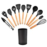 Kitchen Utensil Set 11 Piece Non Stick Silicone Cooking Utensils with Bamboo Wood Handles Cookware Spatula Spoon Set BPA Free Best Kitchen Tool Set Gift