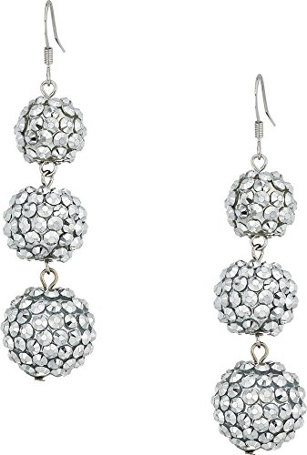 Kenneth Jay Lane Women's 3 Ball Drop Fishhook Earrings Crystal One Size