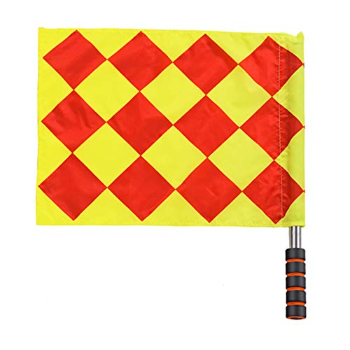 (Soccer Referee Flag Football Training Linesman Flag Stainless Steel Pole Foam Handle Referee Competition Equipment 1 PCS)