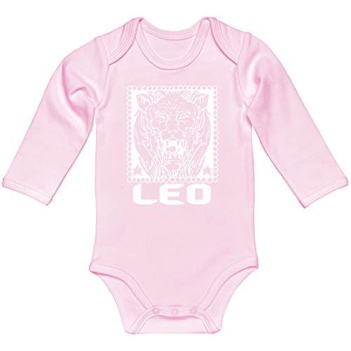 Baby Romper Leo Zodiac Astrology Light Pink for 6 Months Long-Sleeve Infant Bodysuit