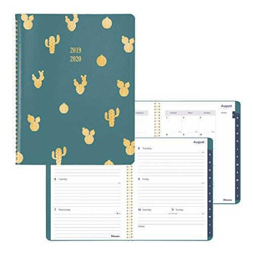 (Blueline Weekly/Monthly Academic Planner, Green Vicuana Cover with Cactus foil Stamping, Tabbed, Twin-Wire Binding, English, 11 x 8.5 inches (CA955.01-20))