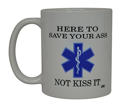 Paramedic Coffee Mug - Rogue River Tactical EMT Funny Coffee Mug Here To Save Not Kiss Novelty Cup Great Gift Idea For EMT EMS Paramedic Ambulance,White