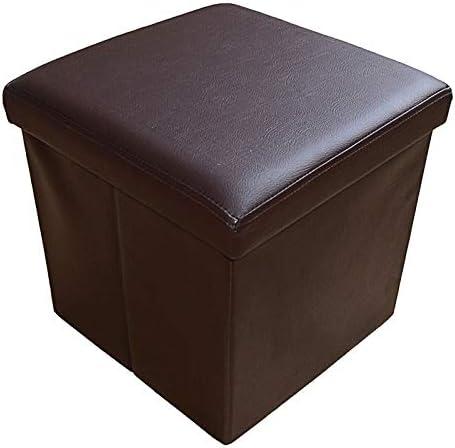 Style home Zitbank zitkruk opbergbox met opbergruimte opvouwbaar belastbaar tot 300 kg kunstleer 38 x 38 x 38 cm bruin
