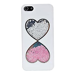 GHK - Double Heart Pattern Beads Inside Back Case for iPhone 5/5S