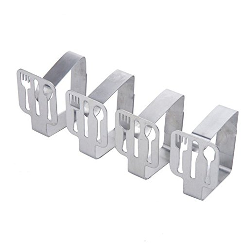 LANGUGU Pack of 4 Creative Tablecloth Clips Stainless Steel Table Cover Clamps Table Cloth Holders Clamps for Home, Parties, Picnics, Restaurant, Weddings, Buffets, Dinners (Fork)