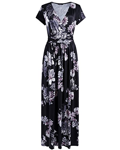 OUGES Women's V-Neck Pattern Pocket Maxi Long Dress(Floral-02,XXL) ()