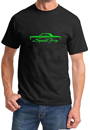 [1965-66 Plymouth Sport Fury Coupe Classic Outline Design Tshirt XL green] (1965 Plymouth Sport Fury)