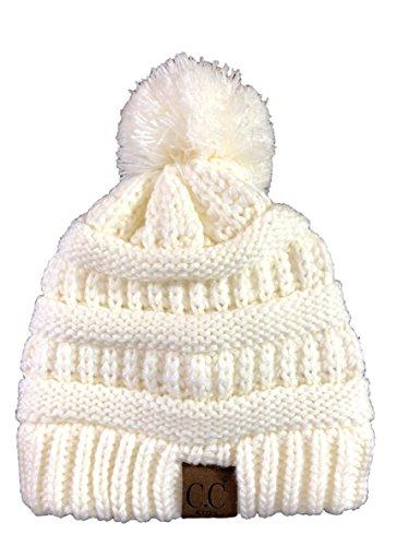 - CrazyFur Kids, CC Style, Knit Pom Beanie, Cozy, Warm, Knit Winter Hat (Ivory)