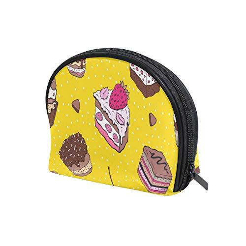 U LIFE Cute Birthday Cake Dessert Yellow Polka Dots Cosmetic Bag Makeup Travel Organizer Storage Pouch Purse for Women Girls