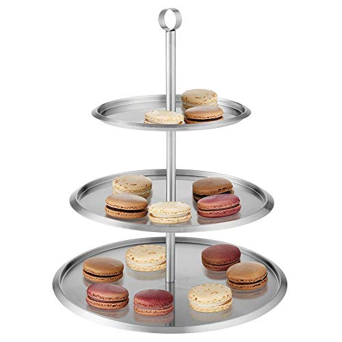 mDesign Modern 3-Tiered Serving Stand, Round Display Tray Tower- Pedestal for Cupcakes, Cookies, Fruits, Desserts, Appetizers - Server for Entertaining, Parties & Buffets - Stainless Steel - Brushed