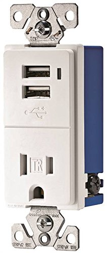 Cooper Wiring Devices TR7740W-K White USB Charger Receptacle