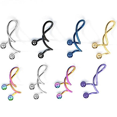 IPINK Rainbow Spiral Twister Surgical Steel Hypoallergenic Unique Spiral Industrial Ear Piercing Navel Ring Earring 7 - Ring Navel Spiral