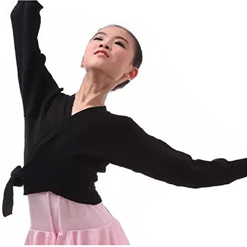 CHICTRY Kids Girls Classic Long Sleeve Knitted Ballet Crossover Cardigan Dance Sport Wrap Over Top Black Tie 10-12 Over Shrug