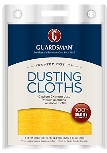 Guardsman Wood Furniture Dusting Cloths - 5 Pre-Treated Cloth - Captures 2x The Dust of a Regular Cloth, Specially Treated, No Sprays or Odors - 462700