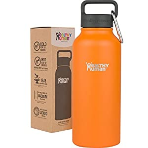 Healthy Human 32 oz Water Bottle - Cold 24 Hrs, Hot 12 Hrs. 4 Sizes & 12 Colors. Double Walled Vacuum Insulated Stainless Steel Thermos Flask with Carabiner & Hydro Guide. Color: Orange Sherbet