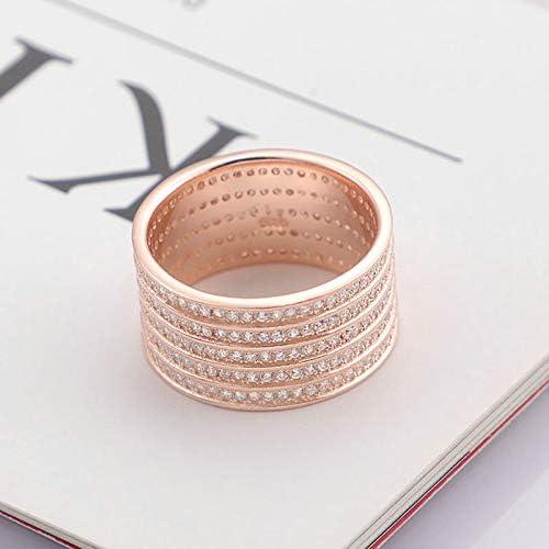 Aimsie Anillo de mujer, anillo de compromiso, S925 plata redonda banda anillo solitario alianzas anillos  Tm05BG