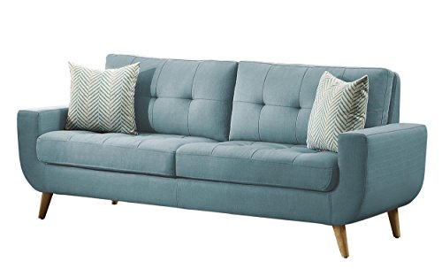 Homelegance Deryn Mid-Century Modern Sofa with Tufted Back and Two Herringbone Throw Pillows, Teal