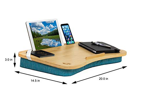Lap Desk by Hultzzzy - Large 100% Natural Bamboo Surface - Fits up to 17 Inch Laptops - 15 Tablets - Pen & Phone Holder - Removable Custom Mouse Pad Included - Cushion Foundation