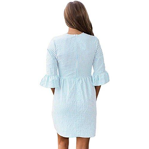 vestidos de mujer, Switchali Mujer rayas casual Tutú vestido moda Bordado Cuello redondo mini Vestido de playa atractivo Fiesta Nocturna Vestir ropa nuevo 2017 barato Verde