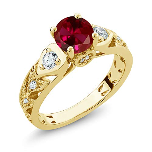 Gem Stone King 18K Yellow Gold Plated Silver Red Created Ruby Engagement Ring 2.26 Ctw Round (Size 5)