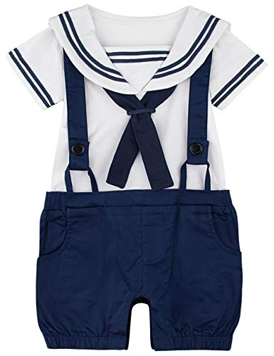 A&J DESIGN Newborn Boys Sailor Romper Overalls (3-6 Months, Navy -