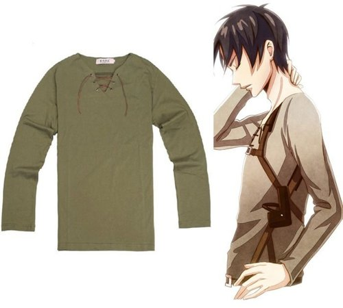 (Cosplay Attack on titan Shingeki no Kyojin Eren Jaeger Clothing V Neck T-Shirt (L))