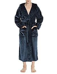 David Archy Men's Fleece Hooded Robe Bathrobe Gown Full Length Loungewear