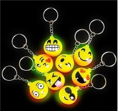 (RIN Flashing LED Light Up Toys, Emoji face Keychain, 12-Pack, 1 Dozens)