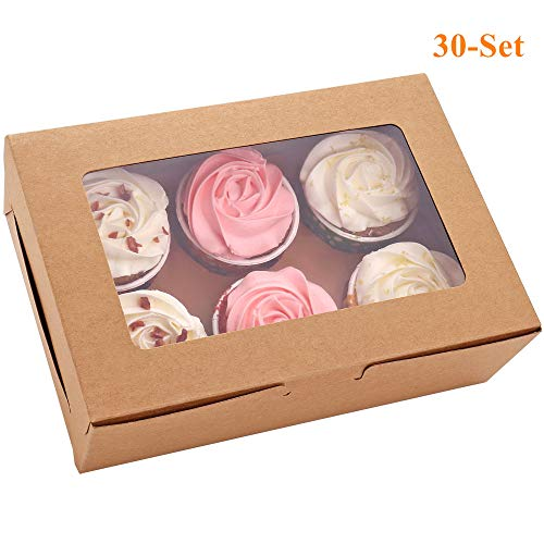 Wholesale Cake Boxes (30-Set Cupcake Boxes with Inserts and Window Hold 6 Cupcakes, 9.4'' x 6.3'' x 3'', Brown Food Grade Kraft Cupcake Holder for Cookies, Muffins,)