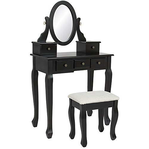 Mefeir Princess Dressing Table Stool with Mirror, Gloss Bedroom Vanity Wooden Set, Girl Small Makeup Seat Saving Room Compact (5 Drawers Set, Black)