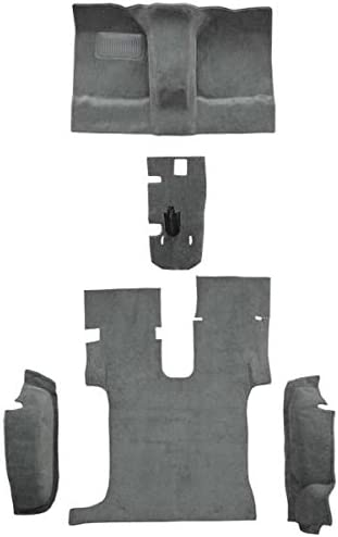8075-Medium Grey Plush Cut Pile 1988 to 1998 GMC Extended Cab Pickup Truck Carpet Custom Molded Replacement Kit Without Rear Floor Vents