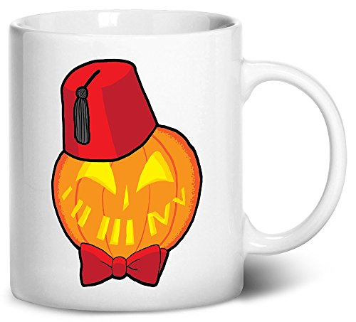 Doctor Who Matt Smith Costume Cosplay (Dancing Participle Timey Wimey Pumpkin Coffee Mug, 11oz, White)
