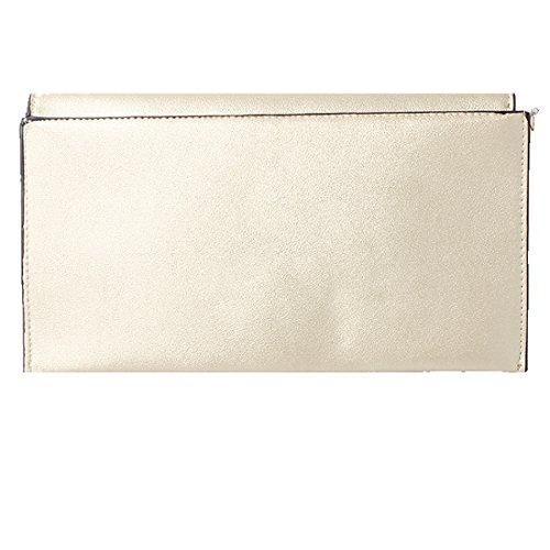 Accessoryo - Bolso de embrague de oro para mujer con cierre de oro redondo