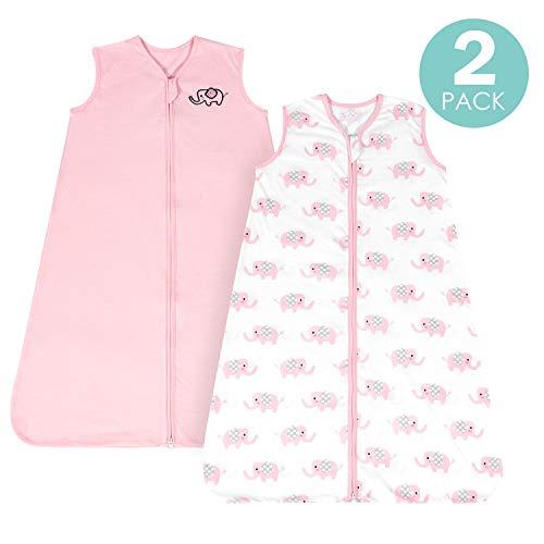 [Medium M]Breathable CottonBaby Wearable Blanket for Summer, Super Soft Lightweight 2-Pack Sleeveless Sleep Bag Sack for Girls, 2-Way Zipper,Fits Infants Newborns Age 6-12 Months, Pink Elephant