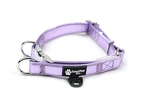 Good Paw Co Holographic Light Pink PU Leather Dog Collar with Double D Rings by -